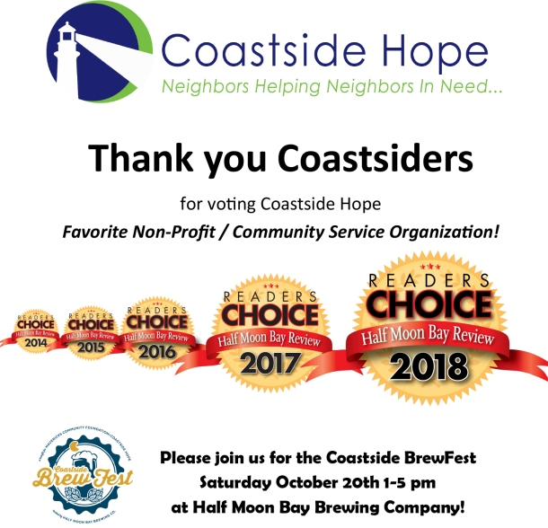Thank you for voting Coastside Hope favorite non-profit!